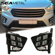 Fog lights For RU Hyundai Creta IX25 2015 2016 2017 Car DRL LED Daytime Running Light Front Fog Lights Auto Lamp Accessories