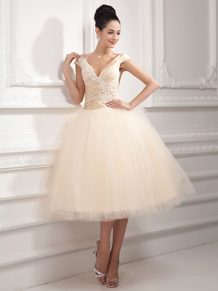 Compare prices on champagne tea length wedding dresses for Champagne tea length wedding dresses