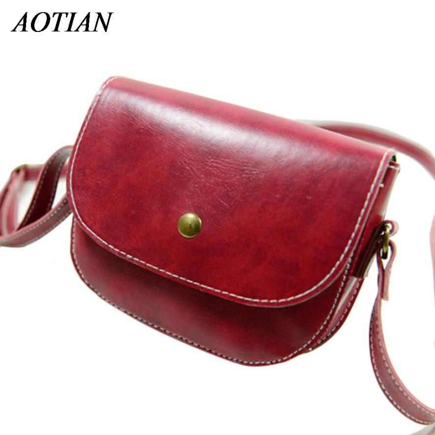 Retro Women Messenger Bags Vintage Style Chain Shoulder Bag PU Leather Crossbody New Dec9 fashionable retro pu leather one shoulder messenger bag for women brown 120cm strap