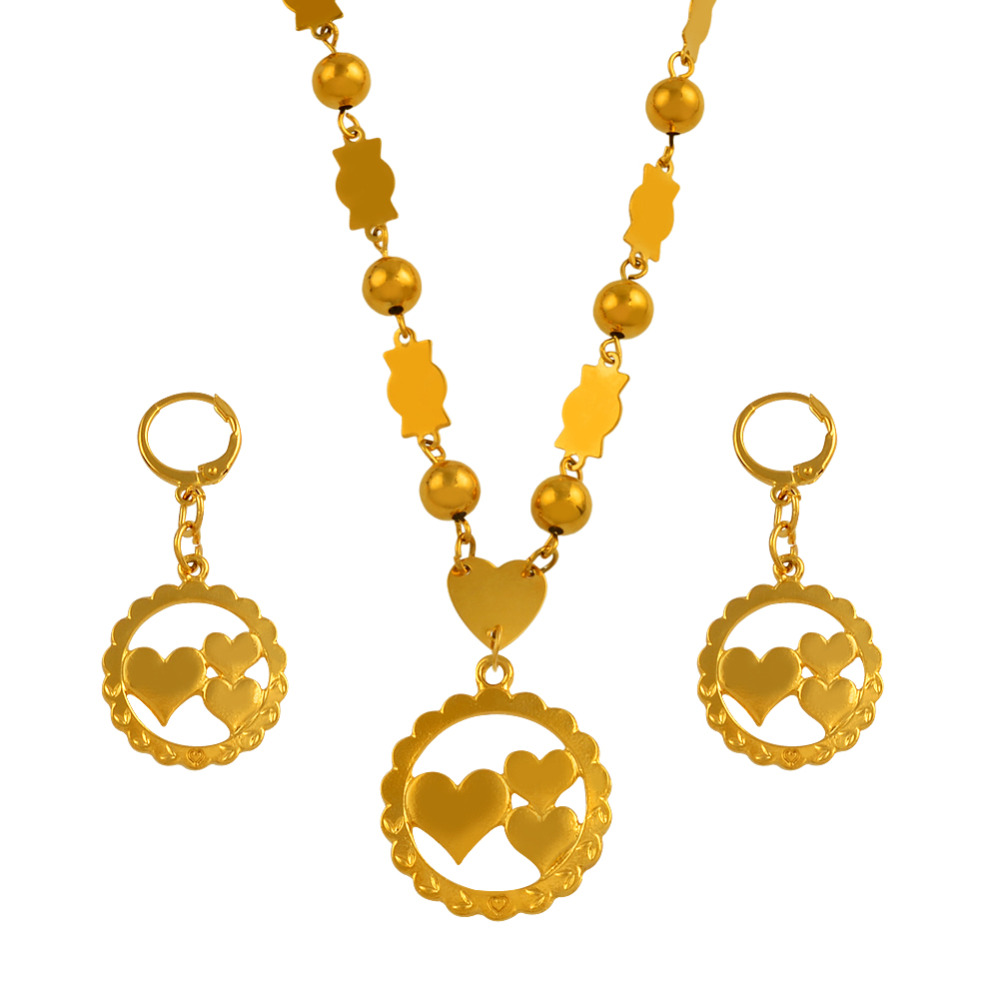 Gold Color Moms Gifts Heart Pendant Necklaces Earrings With Colored Beads Trendy Islands Jewellery sets  #J0201Gold Color Moms Gifts Heart Pendant Necklaces Earrings With Colored Beads Trendy Islands Jewellery sets  #J0201