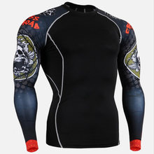 New Running Shirt Men Skull Sport T Shirt Gym Shirt Men Compression Tight Fitness Top Bodybuilding Tshirt Rashgard Soccer Jersey(China)