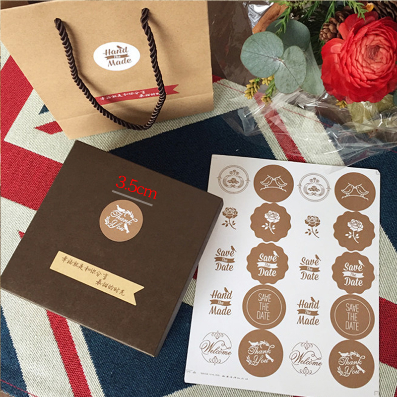 Dia 3 5cm handmade stickers seal stickers gift 400pcs lot handmade sticker round food packaging stickers h0276 in jewelry packaging display from jewelry