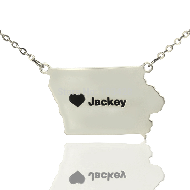 Personalized Silver Charms State Necklaces Iowa State Shaped Necklaces The Custom Map Necklace