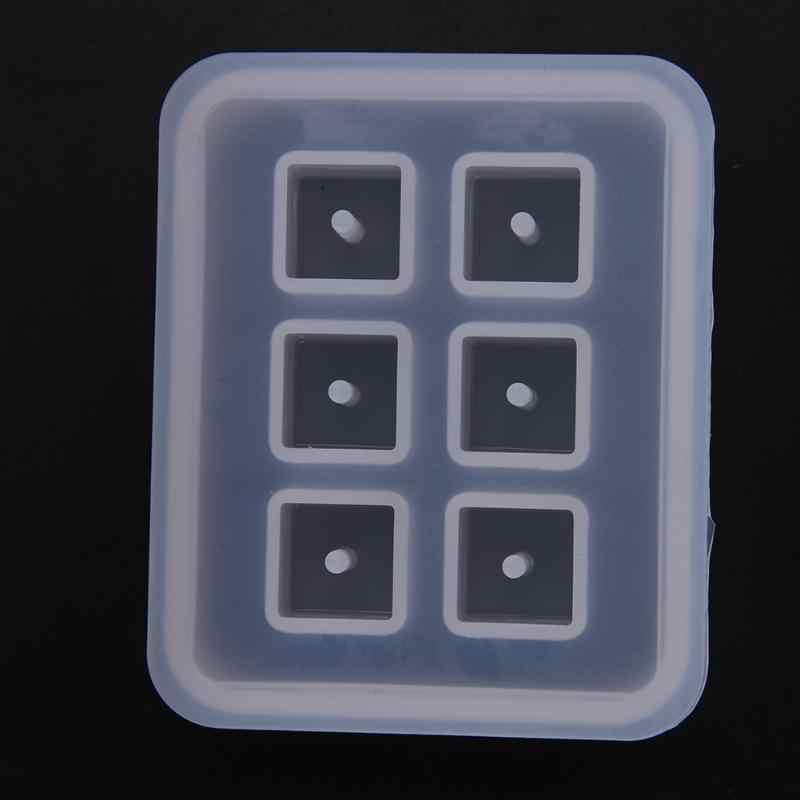 Новый Прозрачный Прямоугольный Хрустальный силиконовый форма бусины квадратный шар 6 подвесных отверстий DIY форма из эпоксидной смолы для ювелирных изделий ручной инструмент