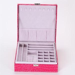 Image 4 - Guanya Brand Leather Storage Boxes Square Shape Wood Jewelry Box Wedding Gift Makeup Storage Bin Earrings Ring Organizer