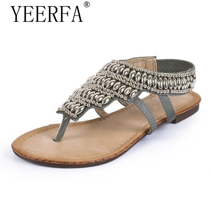 YEERFA Bohemia Gladiator Sandals 2017 Summer Style Flip Flops Vinatge Rhinestone Shoes Woman Slip On Flats Size 35-40 yeerfa 2017 gladiator sandals gold silver shoes woman summer platform wedges glitters creepers casual women shoes size 35 40
