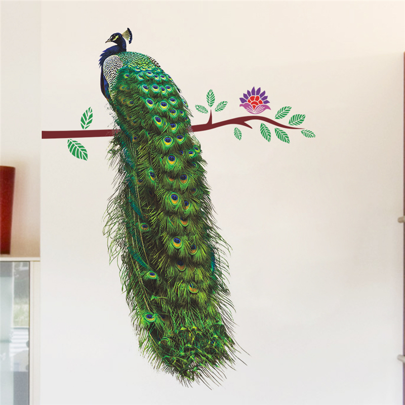 Graceful Peacock On Branch Feathers Wall Stickers Home Decor Living Room 3D Vivid Animal Wall Decals Mural Art PVC Posters Gifts