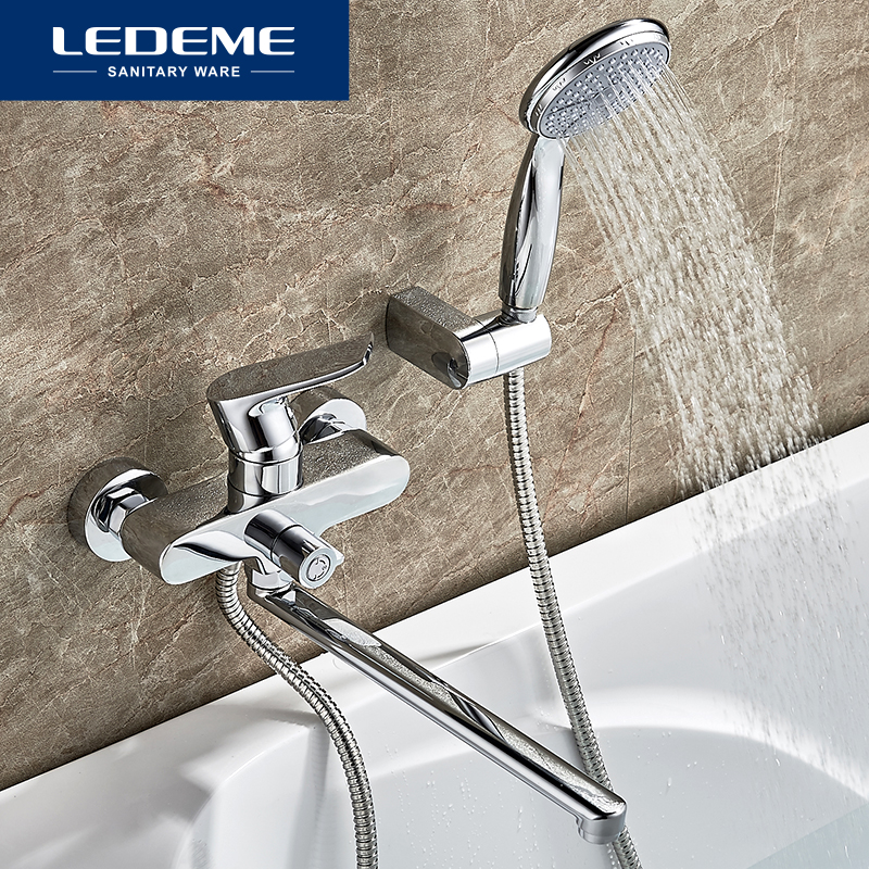 LEDEME Bathtub Faucet set for Bathroom Outlet Pipe Chrome Plated Bath Faucets Surface Brass Bathtub Faucets Shower Head L2234 ledeme chrome plated bathroom bathtub faucets mixer shower set tap with hand brass bathroom bathtub faucet shower head set l2049