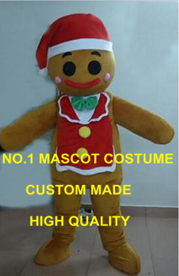 Newest Christmas Jinger Bread Jingerbread Man Mascot Costume Adult Silence Night Food Theme Mascotte Fancy Dress