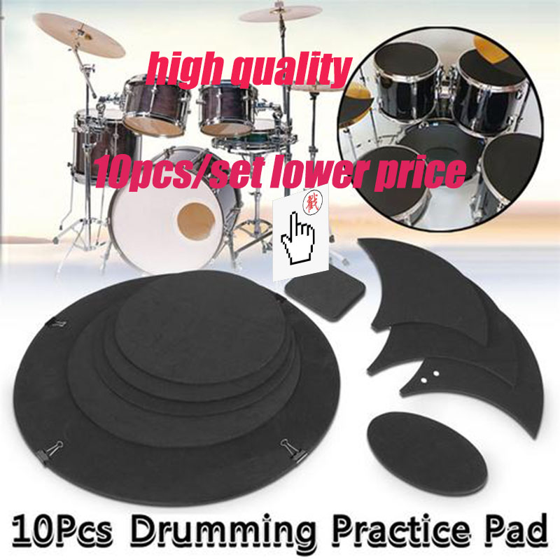10Pcs/set Rubber Foam Tambor Bass Snare Drum Sound Off Quiet Mute Practice Pad Set Tambor Bateri Musical Instrument Accessory