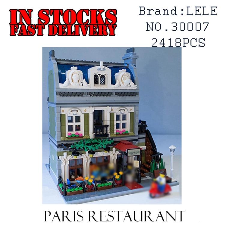 LELE 30007 Creator Expert City Street Parisian Restaurant Model Building Kit figures Set Blocks fun Toys Clone 10243 new lepin 15010 expert city street parisian restaurant model building kits blocks funny children toys compatible with 10243 gift