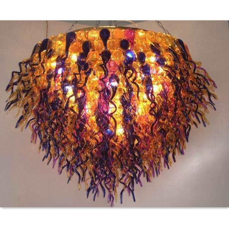 Luxury Golden Rattan Blown Glass Chandelier Murano Glass Lighting Hotel Light