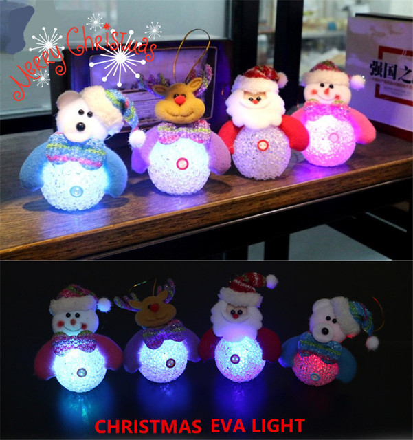 1pcs Christmas Decorations Snowman Night Lights Colorful Eye-lantern Snowman LED Light Change Color Nightlights