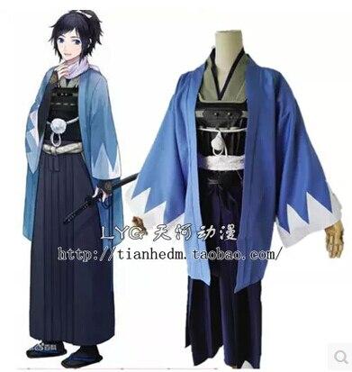 New Top Web games Touken Ranbu Online cos yamatonokami yasusada cosplay halloween blue kimono set Everyday clothing tops fashion