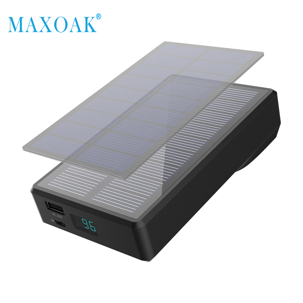 MAXOAK 7800mAh Solar Power Bank Portable Hand Crank Generator External Battery Solar Charger for Smartphone GoPro Camera Tablet