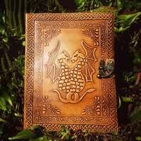 Genuine goat leather journal handmade embossed with magical two dragons leather journal sketchbook notebook diary