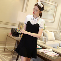 Europe 2017 spring and summer new black and white hit the color bow lotus pendulum fish tail long section chiffon dress