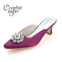 Creativesugar Lady Mules Hoof Heel Satin Evening Dress Shoes Pearl Rhinestone Charm Pointed Toe Pumps Champagne