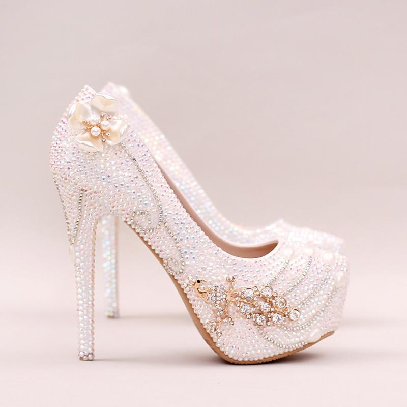 Cendrillon De Noce Stiletto white Bal Blanc Mariée Mousseux 14cm Heels Strass 12cm Heels White Bling Talon Pompes Cristal Chaussures Ab qxfzOE