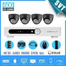 8ch AHD 960 P CCTV DVR Sistema 4 pcs 600TVL IR interior Câmeras de 8 canais DVR Kit de vigilância Câmera de Segurança sistema SK-194