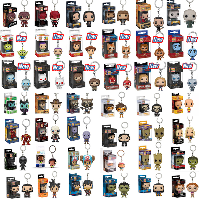 FUNKO POP Oficial Super Herói HULK MARVEL Keychain GOKU RICK DOBBY Personagens de Anime Collectible Figure Brinquedos Modelo Com Caixa