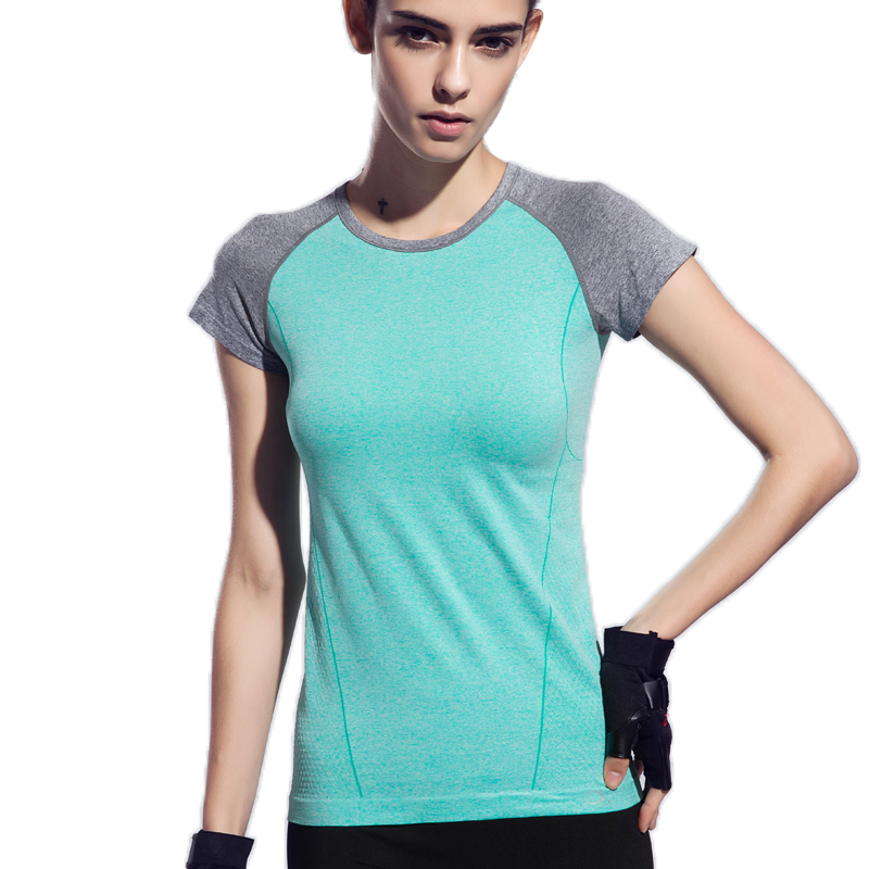 Womens professional fitness T-shirt quick-drying perspicuousness short-sleeve exercise clothes women T-shirt