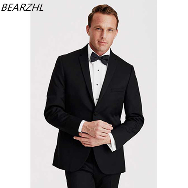 Mens Black Tuxedo Wedding Suits For Men Suit Clic Formal Wear 2017 Wool Bleed High Quality