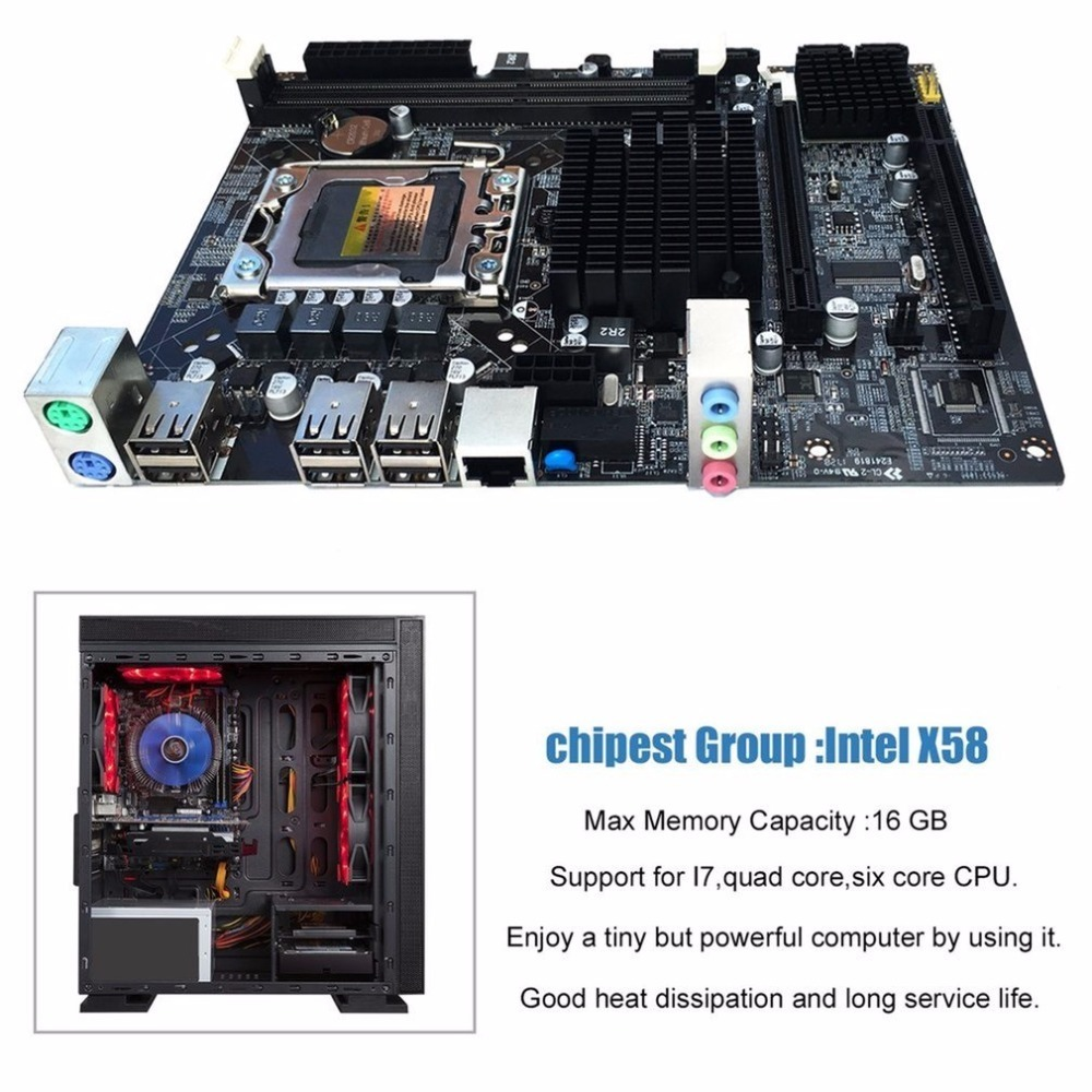 Desktop Motherboard Computer Mainboard For X58 LGA 1366 <font><b>DDR3</b></font> 16GB Support <font><b>ECC</b></font> RAM For Quad-Core Six-Core Needle 8PIN image