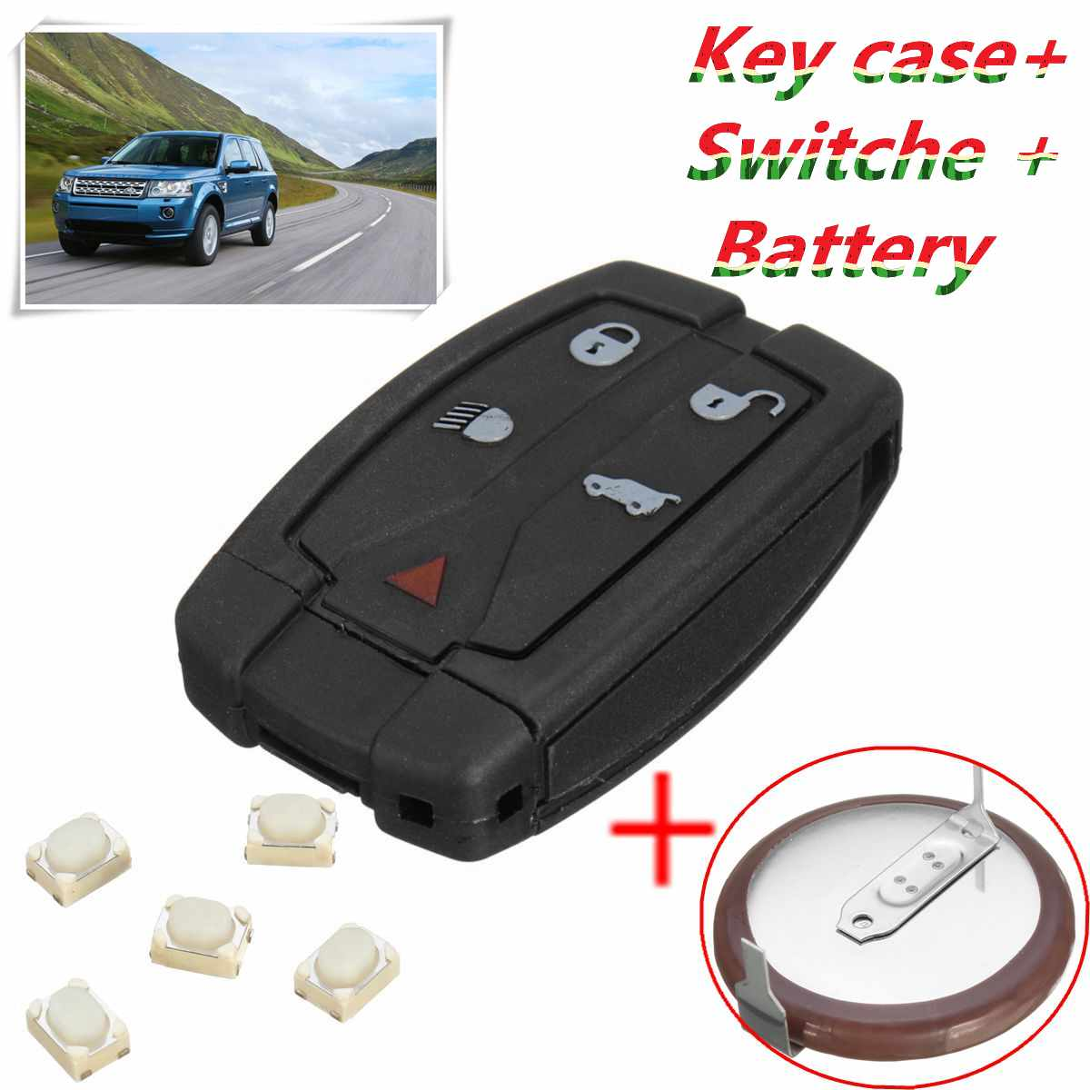 5 Button Remote Key Case/ Recase/ Battery Repair Kit For Land Rover Freelander 2 цена