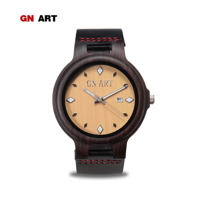 GNART Mens Watches Top Brand Luxury Women Watch Wood Bamboo Wristwatches with Leather Strap Relogio Masculino Watches in Gift mens mechanical watches top brand luxury watch fashion design black golden watches leather strap skeleton watch with gift box