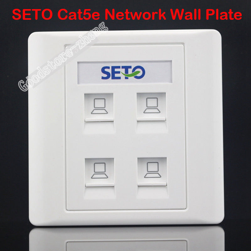 SETO Wall Socket Plate 4 Ports RJ45 Cat5e Cat5 LAN Network Jack Panel Faceplate Outlet Standard Size 86mm Home Plug Wholesale 86x86mm single double port rj45 thick wall plate faceplate wall mount installation with rj45 & rj11 keystone socket outlet