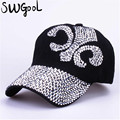 wholesale 2016 new fashion hat caps sunshading men and women's baseball cap rhinestone hat denim and cotton snapback cap hip hop