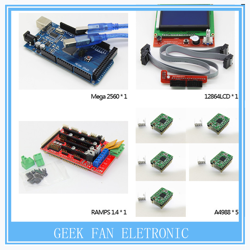 1pcs Mega 2560 R3 + 1pcs RAMPS 1.4 Controller + 5pcs A4988 Stepper Driver Module +1pcs 12864LCD for 3D Printer Controller Kit 1pcs 100