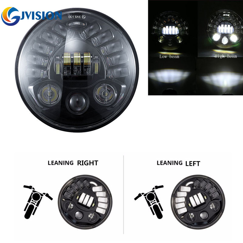 7 Inch LED Round Adaptive Motorcycle Headlight 7 LED Projection Daymaker Headlamp High/ Low Beam for Harley motorcycles