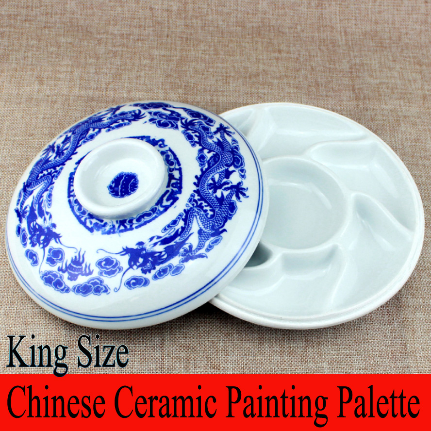 Chinese Ceramic Painting Palette Traditional blue white porcelain Saucer Painting Plate for Painting Calligraphy Art Supplies traditional chinese water lily painting pattern square shape pillowcase