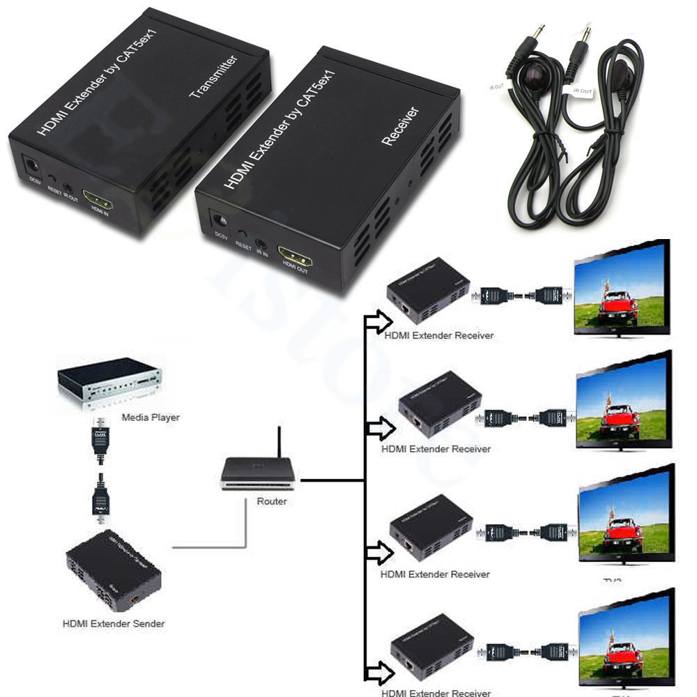 1080p 100m 328ft Hdmi Extender Over One Cat5e 6 Network