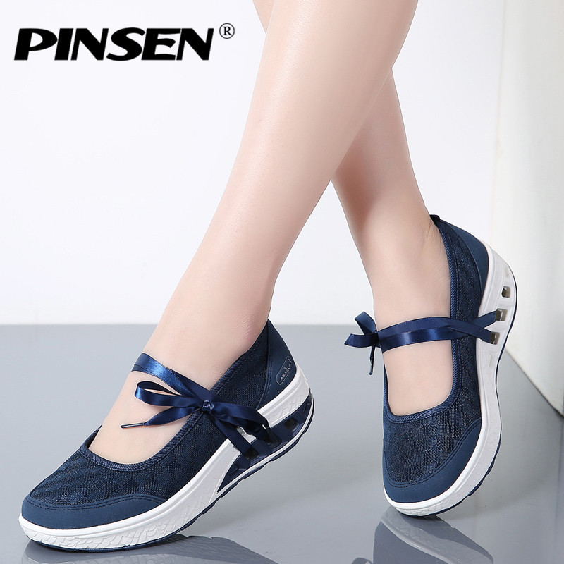 PINSEN 2018 Sneakers Flat Platform Women Shoes Slip On Casual Ladies Flats Loafers Shoes Woman Moccasins creepers zapatos mujer akexiya casual women loafers platform breathable slip on flats shoes woman floral lace ladies flat canvas shoes size plus 35 43