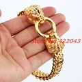 New Men Bracelet 316L Stainless Steel Gold Tone Figaro Chainor Women Lion Heads Clasp Cool Style Bangle Jewelry Gifts 22cm Long