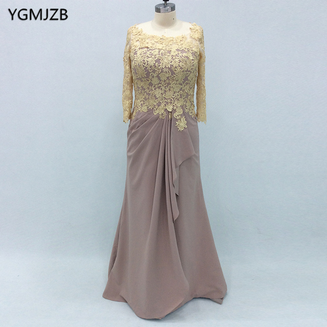 2018 Elegant Mother Of The Bride Dresses Mermaid Long Sleeves Gold Lace  Appliques Formal Plus Size Mother Dresses For Wedding-in Mother of the  Bride ...