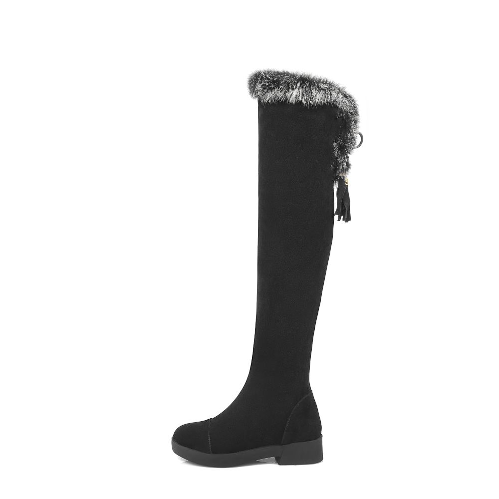 Brand New Winter Sexy Women Thigh High Fur Boots Black Gray Lady Over the Knee Shoes Chunky Heel ETC02 Plus Big size 10 43