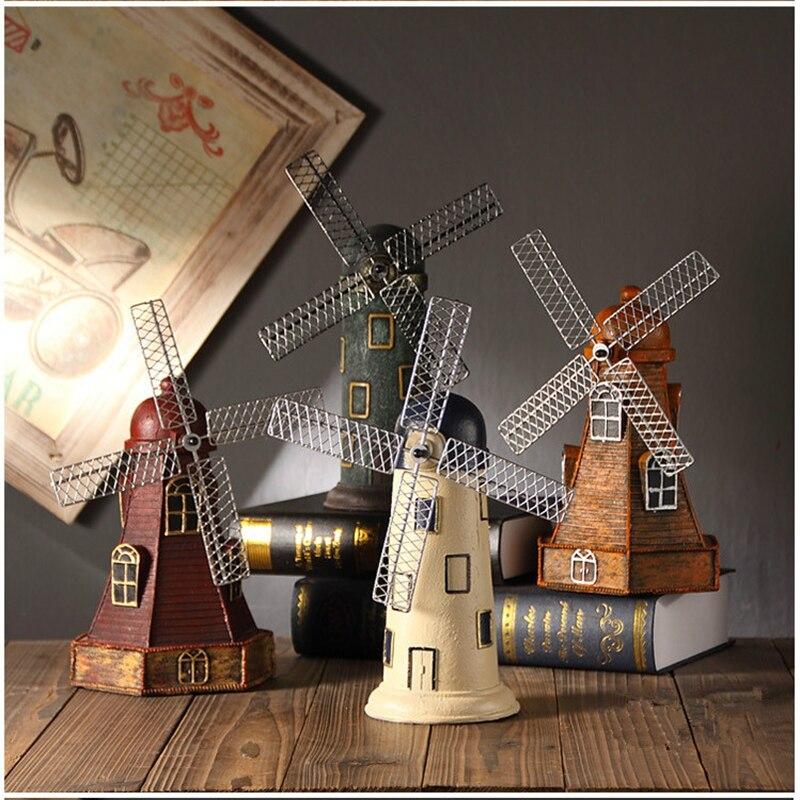 4 couleurs Vintage résine moulin à vent ornements tirelire néerlandais moulin à vent décor à la maison ornements Europe modèles cadeaux Articles d'ameublement