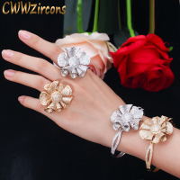CWWZircons Luxury Big Bowknot Flower Yellow Gold CZ Bangle Bracelet and Ring Engagement Wedding Party Jewelry Set for Women T322