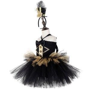 Image 3 - Черно Золотое Платье пачка в стиле цирковых колец, Детские великолепные костюмы Showman для девочек, платье для Хэллоуина, карнавала, дня рождения