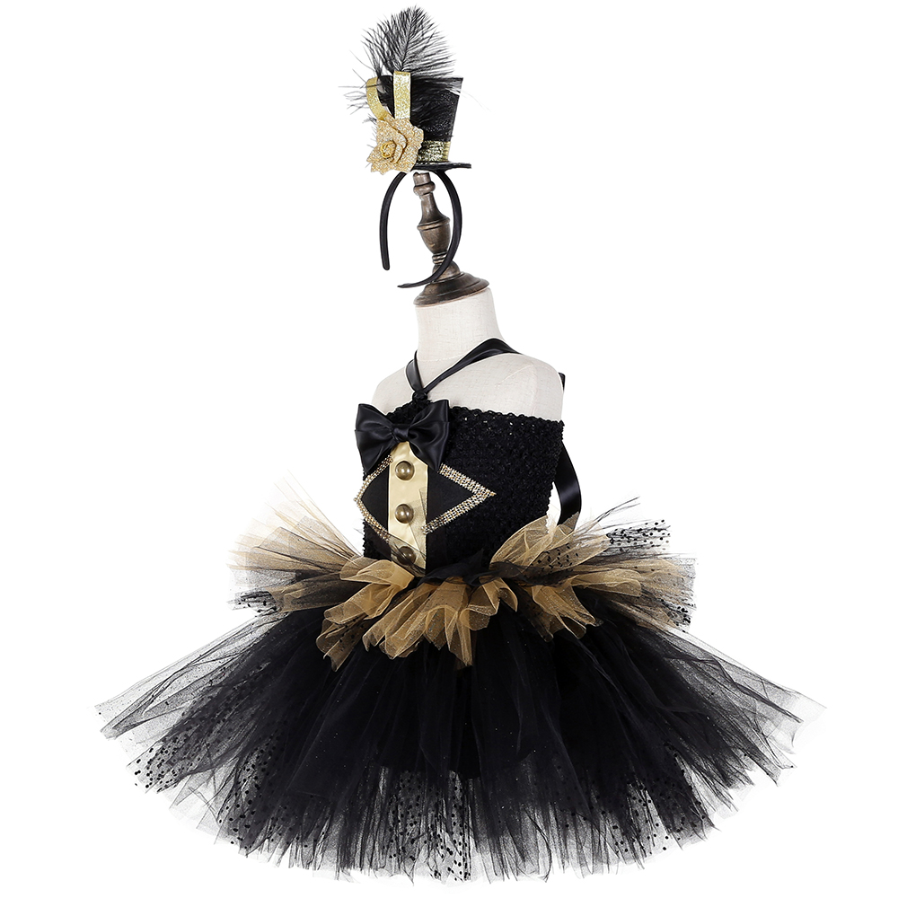 Image 3 - Black and Gold Circus Ringmaster Tutu Dress Kids Greatest Showman Costumes Girls Halloween Carnival Birthday Party Dress 1 14YDresses   -