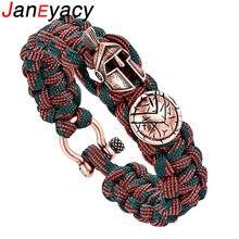 Браслет Janeyacy Brave для выживания на открытом воздухе, мужской Спартанский шлем, зонтик, веревка, браслеты Pulseira Masculina, Череп, нейлоновый браслет
