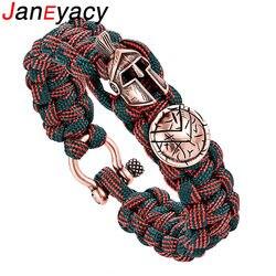 Janeyacy Brave Outdoor Survival Bracelet Men's Spartan Helmet Umbrella Rope Bracelets Pulseira Masculina Skull nylon Bracelet