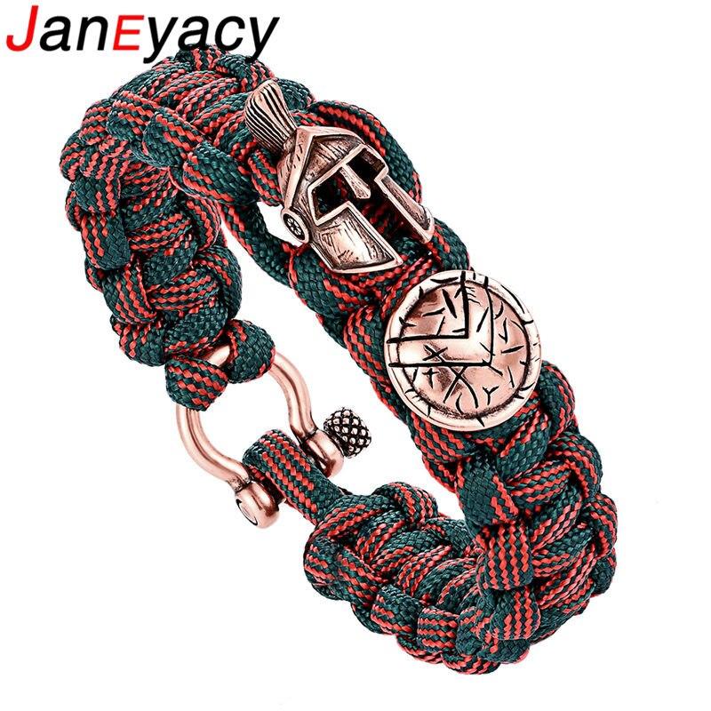 Janeyacy valiente pulsera de la supervivencia al aire libre de los hombres Spartan casco paraguas cuerda pulseras modelosde Masculina cráneo de nylon pulsera