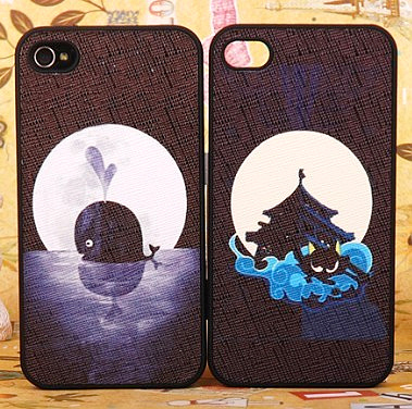 Cat cartoon set for apple for iphone for 4 4s scrub phone case stereo set