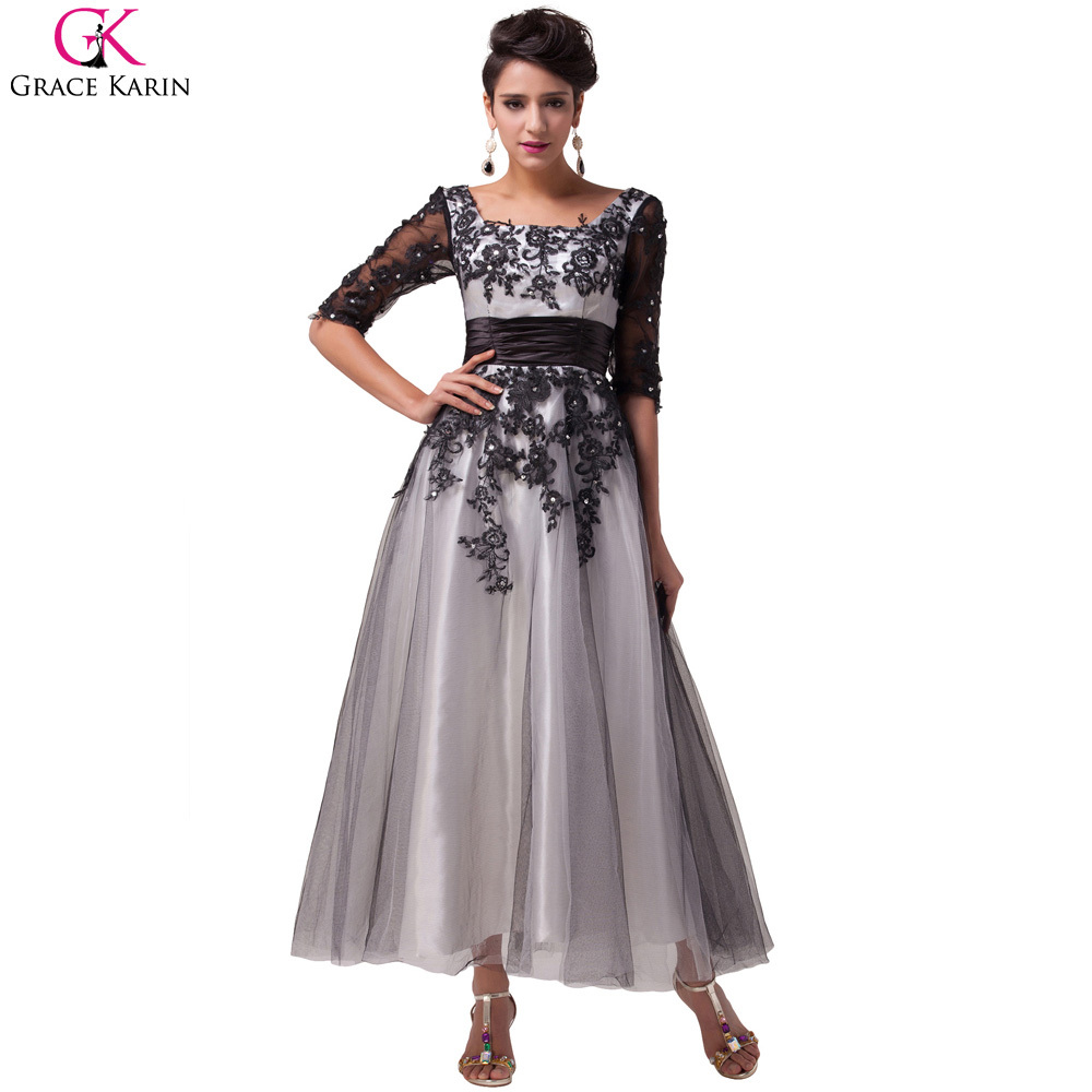 Robe De Soiree Elegant Grace Karin <font><b>Beaded</b></font> Lace Tulle Ball Formal Tea Length Evening Dresses Gowns Party Dress With Sleeves 6051