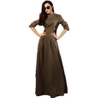 HIGH QUALITY New Fashion 2016 Spring Women S Long Sleeve Elegant Plaid Casual Maxi Long Dress